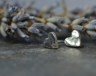 Teeny, Tiny, silver, heart earrings