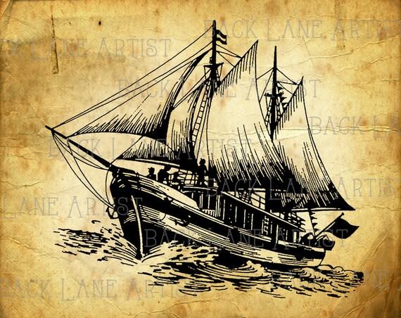 Vintage Sailboat Sketch Vintage Nautica...
