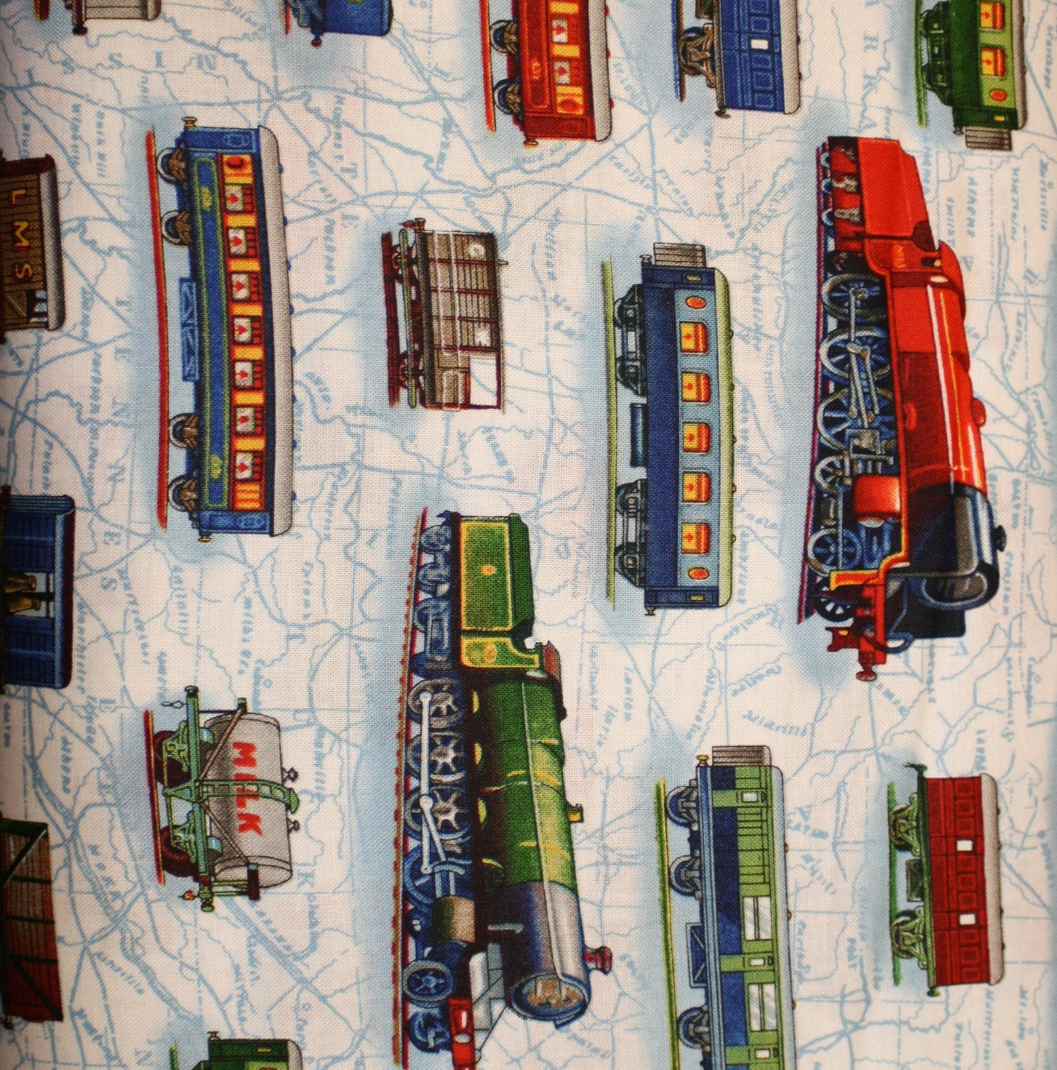 All aboard train fabric by robert kaufman fabircs for Train themed fabric