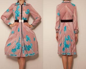 1970's japanese pink aqua blue floral vintage dress,Floral dress,Pink dress,Shirtwaist dress,autumn winter dress,art deco dress,tea dress
