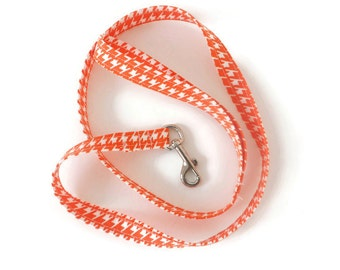 Orange and white dog leash, orange leash, orange houndstooth dog lead, houndstooth leash, leash only