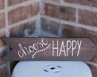 Choose Happy Arrow Wood Sign