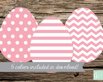Printable Easter Egg Banner with 5 colors included: Instant Download