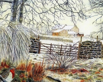 """Greetings card: """"Robin's Way"""" - bird card, Winter birthday card, robin card, snow scene, winter holiday card from a painting by Dave Marsh"""