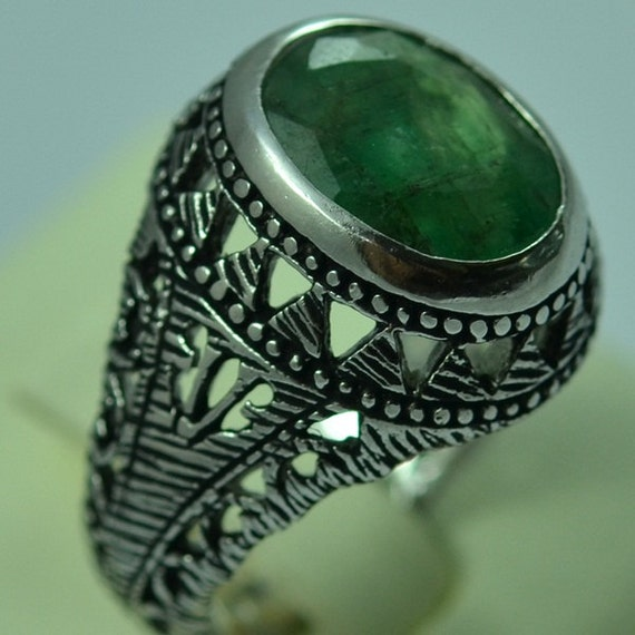 Natural Emerald Sterling Silver Rings