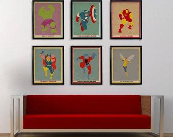 Minimalistic Avengers Print Set! Captain America, Iron Man, Hulk, Thor, Ant Man, and Wasp