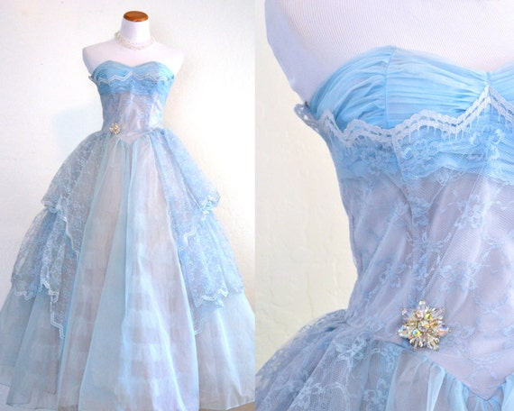 Vintage 1950s Prom Dress Baby Blue Tulle Evening Gown Full Length Cupcake Style