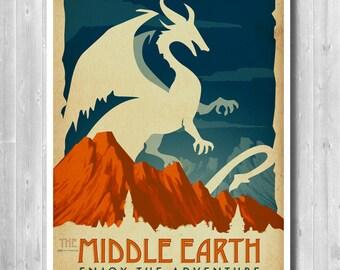 Travel poster, Dragon Art poster, Adventure poster,Ring, Movie poster, dragon, Retro movie art, Minimalist poster, Print,