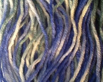 Hand dyed yarn, hand dyed sock yarn, 100% superwash Merino wool, worsted, Aran, blue sock yarn, green sock yarn