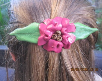 Large Pink Floral Kangaroo Leather Hairclip