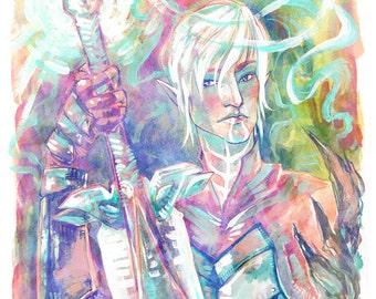 "Fenris, Dragon Age 2, 8"" x 10"" Colorful  Mixed Media Art Print"