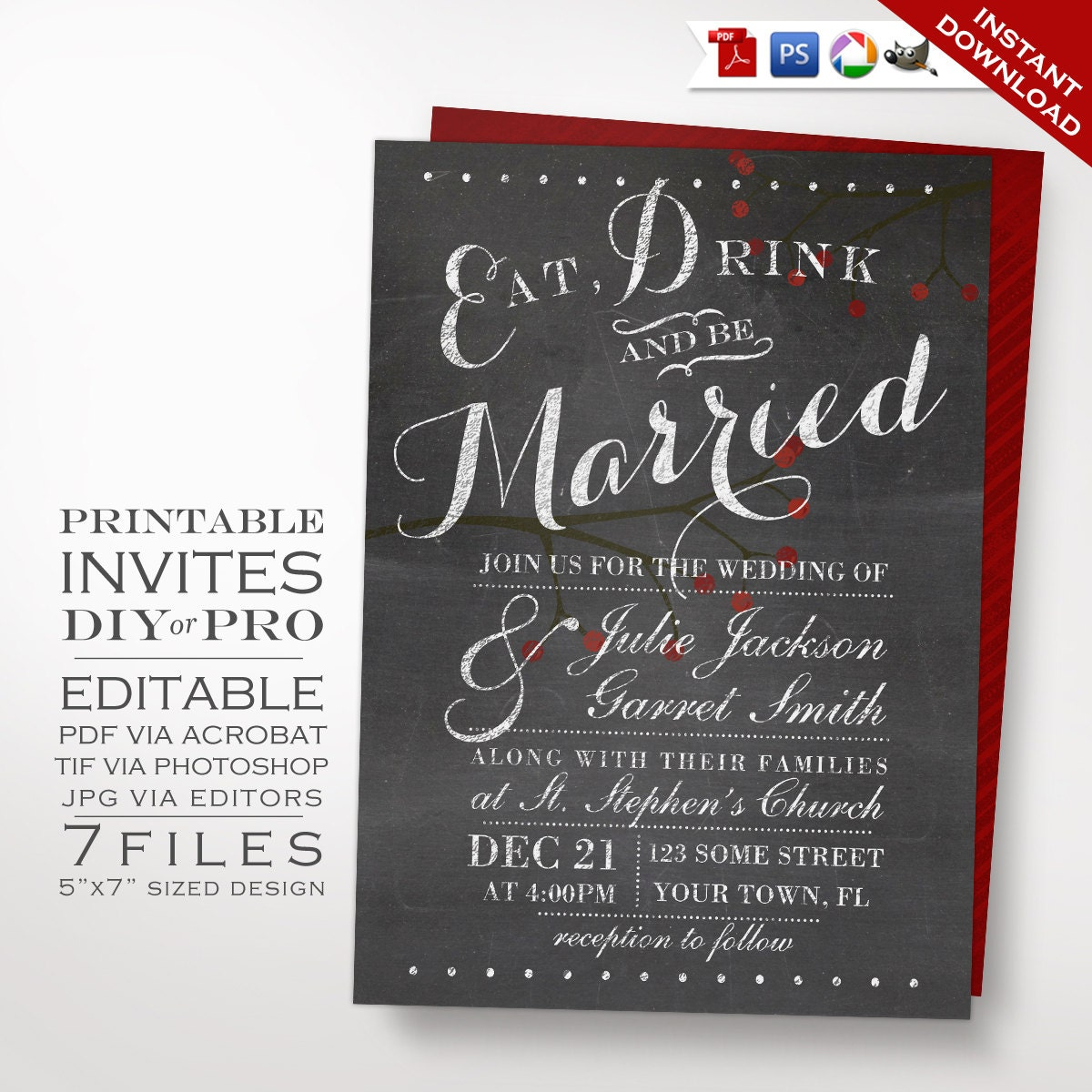 zoom - Chalkboard Wedding Invitations
