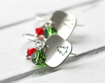 Christmas Tree Earrings, Red & Green Hand Stamped Square Evergreen Earrings, Christmas Jewelry, Sterling Silver Fir Tree, Swarovski Crystal