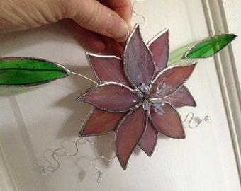 Stained Glass Flower Suncatcher, Pink