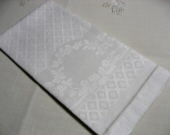 "Antique Edwardian diamond damask linen towel 20"" x 14.75"" tea hand"