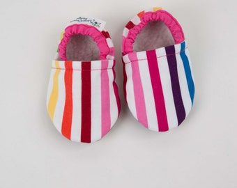 First Birthday Rainbow Stripes Baby Shoes Baby Booties Soft Sole Shoes