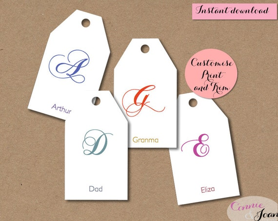Gift tags DIY. Script Initial tags. Editable, printable custom gift ...