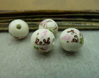 10pcs 12mm Ceramic Flower Round Beads Charms Flower Bead Pendant A