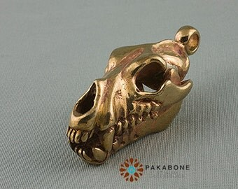 Wolf Skull Pendant Amulet Solid Bronze 000-503