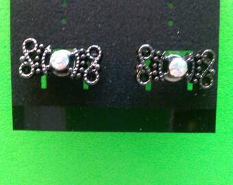 Handmade Black Bow Post Earrings