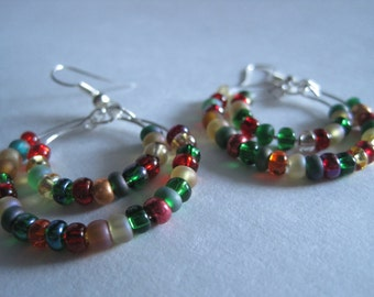Festive Red, Green, and Yellow Beaded Double Hoop Earrings