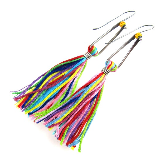 Sterling Silver Rainbow Tassels Earrings with Seed Bead