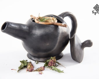 Black pottery teapot