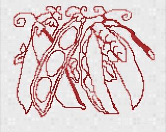 Cross Stitch or Needlepoint Vintage Peas Digital Pattern