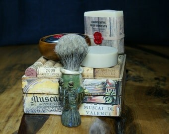 Jumpin Catfish! Hand made Shave Kit with Ceramic Badger Shave Brush, plus Cold Process Shave Soap, AND a huge bar of Cold Process Soap.