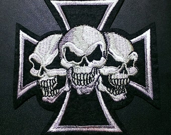 Three Skull Iron Cross Embroidered Iron -On Biker Patch 3 1/2''