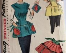 Simplicity 4492 vintage 1950's woman's cobbler apron sewing pattern size medium bust 34-36