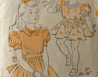 New York 1624 vintage 1940's girls dress sewing pattern size 6