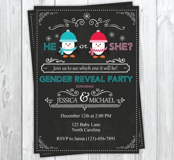 Holiday Baby Gender Reveal Party Invitation, Christmas Gender Reveal Party, He or She Gender Reveal