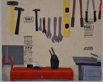 "Mixed media fiber art painting ""Shop Space"""