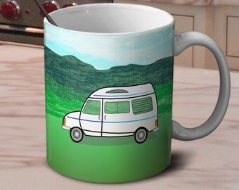 Campervan Mug. Choice of wording (personalisation available)