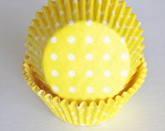 Yellow & White Polka Dot Cupcake Papers