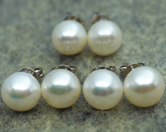 Multi Set of 6-20 pearl stud, AAAA ,8.5-9mm Fresh Water pearl earrings,Sterling Silver,White Pearl studs,Wedding,Love,Happiness,birthday