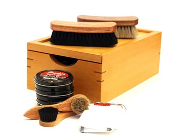 Handcrafted Douglas Fir Shoe Shine Kit Made in the Pacific Northwest