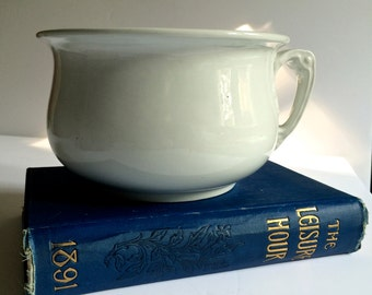 Ironstone Chamber Pot Wood and Sons England White Cottage Chic Farmhouse Antique White