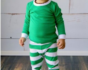Green & White Holiday PJ's