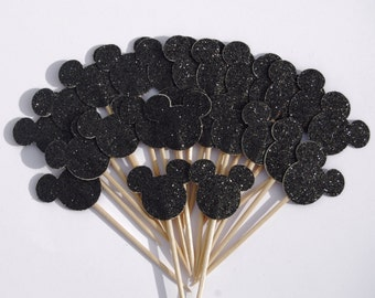 12 Black Glitter Disney Mickey Mouse Party Picks Cupcake Toppers Toothpicks Food Picks
