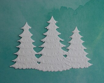 8 Winter frosted christmas tree trio Die Cuts Christmas card Scrapbooking embellishment