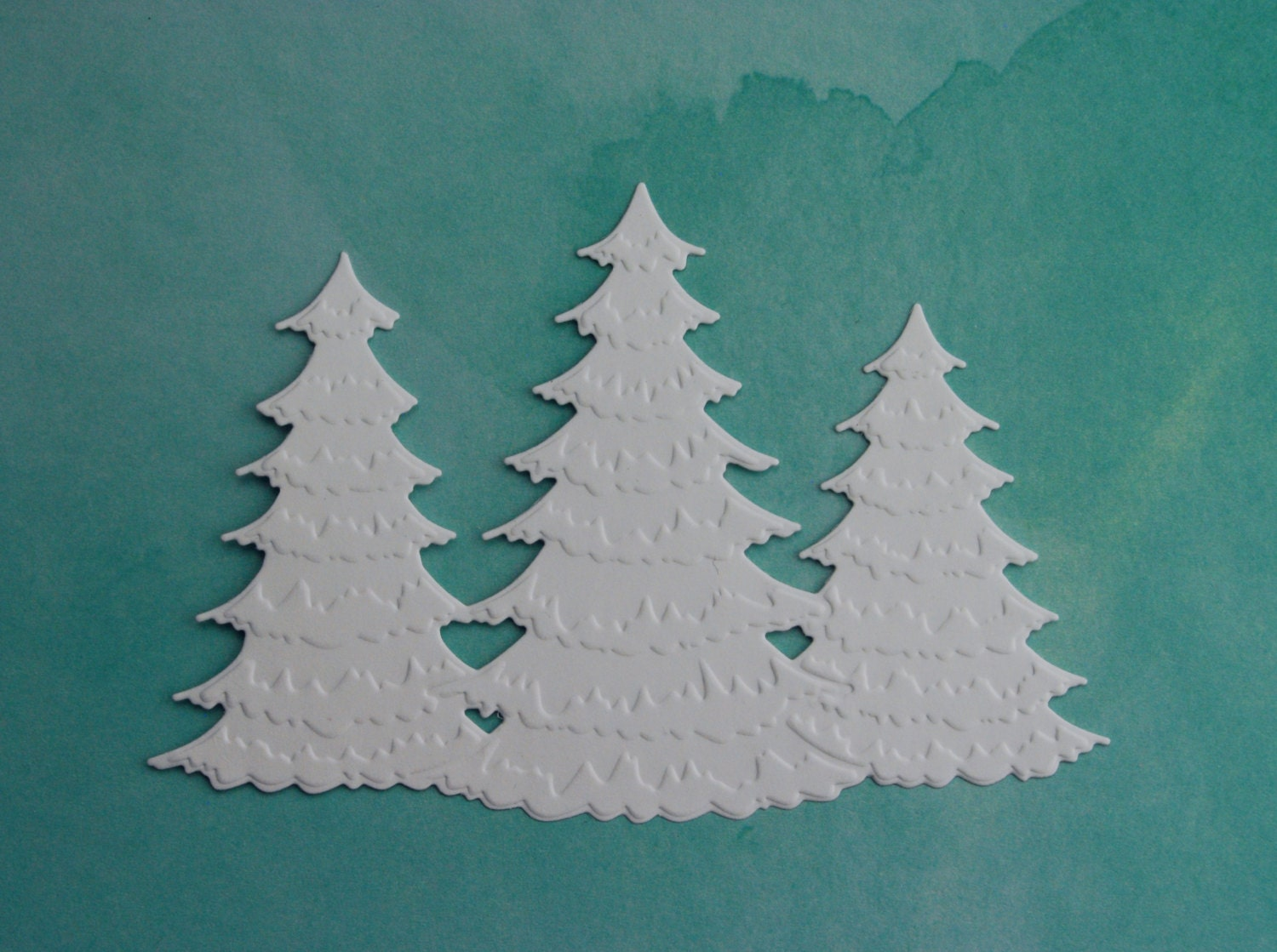 8 Winter Frosted Christmas Tree Trio Die Cuts By