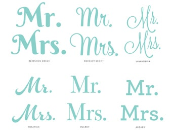 Mr. & Mrs. Vinyl Decals Perfect for Champagne Flutes