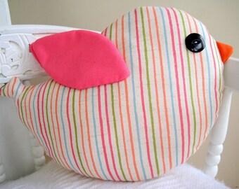 Modern pink stripe bird cushion softy for nursery, girl's room or playroom