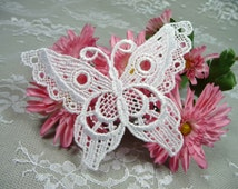 Large Lace Applique Butterfly White Trim for Crazy Quilts Costumes Crafts Altered Art Wedding Gowns Scrapbooks