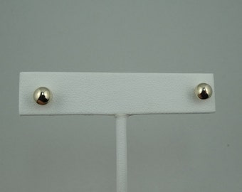 Classic Vintage 7 mm Hollow Ball 14K Gold Stud Earrings #HB68MM-ERG1
