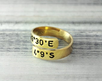 Custom Coordinate Ring  GPS  Ring  18K gold plated Ring  Latitude Longitude ring  Adjustable Ring  Latitude Longitude jewelry