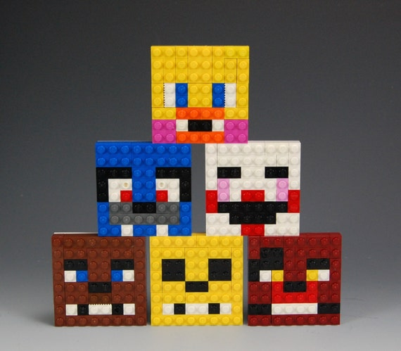 Lego five nights at freddy s faces bonnie foxy golden freddy chica