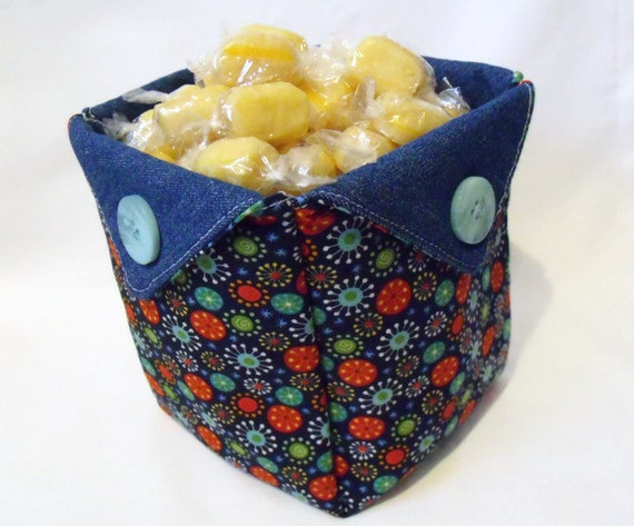 desk tidy, storage tub, fabric basket, origami box, quilted folded fabric denim tub, denim and stars